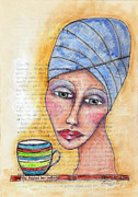 Head Wrap Pastels Metal Prints - She Finished Her Coffee Metal Print by Karen Kay