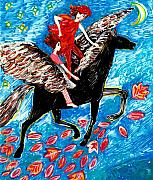 Horse Ceramics Posters - She flies with the West Wind Poster by Sushila Burgess