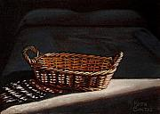 Basket Pastels Prints - She is sleeping Print by Keith Gantos