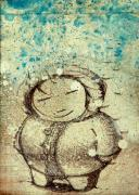 Comic Mixed Media Prints - She Liked The Cold Print by Konrad Geel
