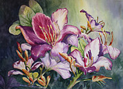 Tree Blossoms Paintings - She Love Orchids by Roxanne Tobaison