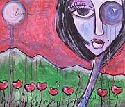 Red Poppies Drawings - She Loved the Poppies by Laurie Maves