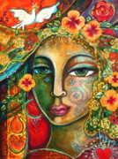 Visionary Painting Prints - She Loves Print by Shiloh Sophia McCloud