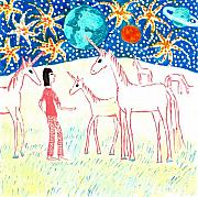 Science Fiction Ceramics Prints - She meets the moon unicorns Print by Sushila Burgess