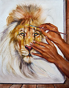 Martin Katon Art - She Paints Him  by Martin Katon