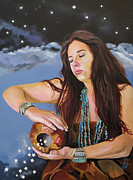Spirit Guide Prints - She Paints with Stars Print by J W Baker