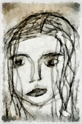 Pencil Sketch Mixed Media Prints - She Sat Alone 2 Print by Angelina Vick