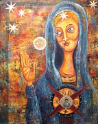 Russian Icon Prints - She sees and blesses all Print by Suzan  Sommers