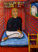 Portrait Paintings - She Sits And Dreams In A Room 2 Small Thoughts 2 Big by Susan Stewart