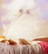 Angels Pastels Prints - She Sleeps Print by Rosy Hall