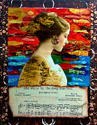 Word Portrait Mixed Media Posters - She Waits by the Deep Blue Sea Poster by Lynell Withers