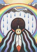 Native American Drawings Posters - She Who Brings The Rain Poster by Amy S Turner