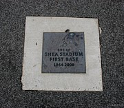 Ny Mets Prints - Shea Stadium First Base Print by Rob Hans