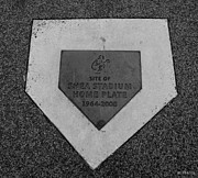 Ny Mets Prints - SHEA STADIUM HOME PLATE in BLACK AND WHITE Print by Rob Hans