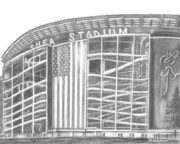 New York Mets Stadium Drawings Posters - Shea Stadium Poster by Juliana Dube