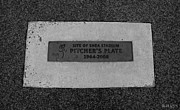 Base Balls Posters - SHEA STADIUM PITCHERS MOUND in BLACK AND WHITE Poster by Rob Hans