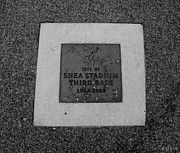 Base Balls Framed Prints - SHEA STADIUM THIRD BASE in BLACK AND WHITE Framed Print by Rob Hans