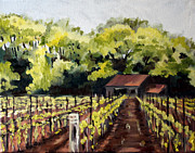 Vineyard Landscape Art - Shed in a Vineyard by Sarah Lynch