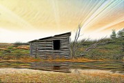 Shed Digital Art Metal Prints - Shed In the Field Metal Print by Vickie Emms