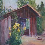 Shed Painting Posters - Shed with Yellow Iris Poster by Sukey Jacobsen