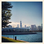 Skyline Framed Prints - Shedd Aquarium and Chicago Skyline Framed Print by Adam Romanowicz