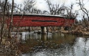 Covered Bridge Digital Art Prints - Sheeder - Hall Covered Bridge Print by Bill Cannon