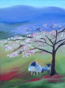 Sheep Mixed Media Posters - Sheep and Cherry Tree Poster by Janel Bragg
