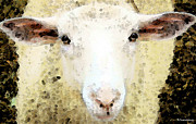 White Sheep Prints - Sheep Art - Ewe Rang Print by Sharon Cummings
