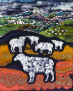 Dark Tapestries - Textiles Posters - Sheep at Midnight Poster by Carol  Law Conklin
