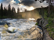 Moist Prints - Sheep Falls Sunset Print by Leland Howard