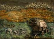 Landscapes Reliefs Framed Prints - Sheep Herders Wagon from Snowy Range Life Framed Print by Dawn Senior-Trask