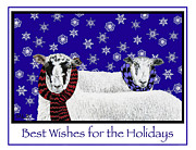 Snowflakes Drawings Posters - Sheep Holiday Poster by Marla Saville