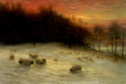 Winter Sunset Posters - Sheep in a Winter Landscape Evening Poster by Joseph Farquharson