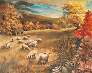 Shed Painting Posters - Sheep in Octobers field Poster by Joy Nichols