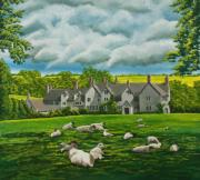 Gouache Painting Originals - Sheep in Repose by Charlotte Blanchard