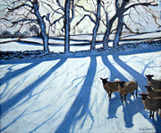Hills Paintings - Sheep in snow by Andrew Macara
