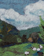 Hills Tapestries - Textiles - Sheep in the Field by Nicole Besack