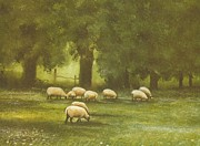 Psalm 23 Posters - Sheep In The Meadow Poster by Charles Roy Smith