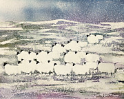 Snowy Field Prints - Sheep in Winter Print by Suzi Kennett