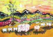 Sunshine Tapestries - Textiles Prints - Sheep on Sunny Summer Day Print by Carol Law Conklin