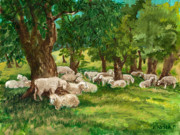 Ithaca Painting Prints - Sheep Pasture Ithaca New York Print by Ethel Vrana