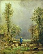 Tree Oil Paintings - Sheep watching a Storm by Constant-Emile Troyon