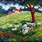 Original  By Artist Paintings - Sheeps in a field by Richard T Pranke