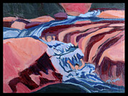 Slide Painting Prints - Sheer Fun at Slide Rock Park Arizona Print by Betty Pieper