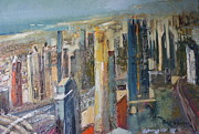 High Rise Paintings - Sheik Zayed Road Dubai by Brigitte Roshay