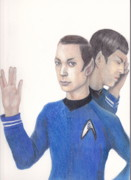 Spock Drawings Framed Prints - Sheldon Cooper Spock Framed Print by Karen Stitt