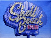 Shell Sign Painting Originals - Shell Beach Inn by Jeff Taylor
