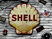 Shell Sign Art - Shell Gas by Dennis Dugan