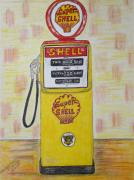 Kathy Marrs Chandler Art - Shell Gas Pump by Kathy Marrs Chandler