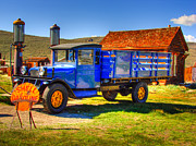 Ghost Towns Framed Prints - Shell Gas Station and Blue Truck in Bodie Ghost Town Framed Print by Scott McGuire